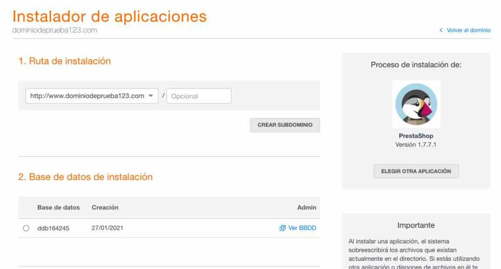 Dominio y base de datos para PrestaShop