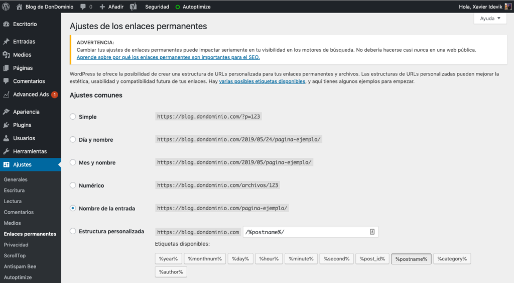 ajustes enlaces permanentes wordpress