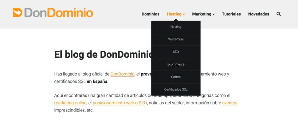Menú blog DonDominio